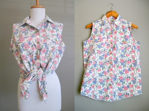 Sleeveless Floral Blouse Vintage Shirt 1980s Medium Large