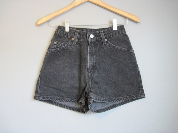High Waisted Jean Shorts Vintage Levis Denim Black XS Small