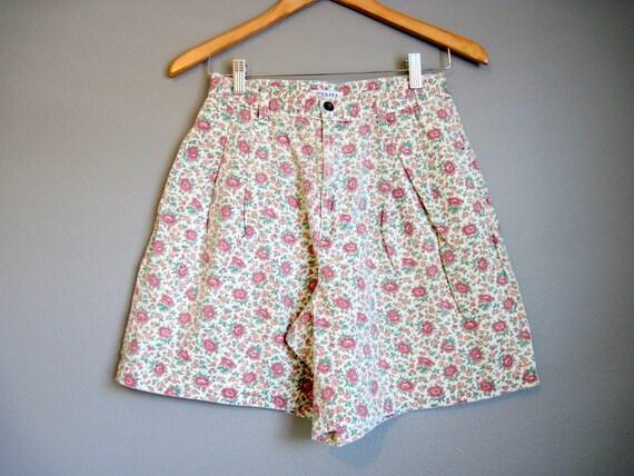 Floral Shorts Jean Vintage Denim High Waist Romantic Medium