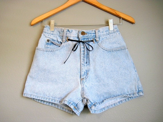 High Waisted Jean Shorts Vintage Denim Bow 1980s XS