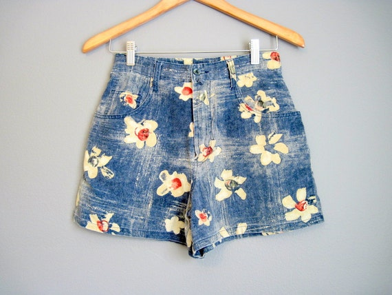 Floral Shorts Vintage High Waisted Beach 90s Small