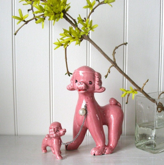 "Vintage ceramic Japan girly style ... A mother 6"" and her baby 2 1/2"" pink poodle"