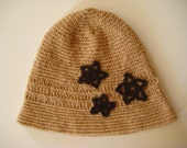 CROCHET Brown HAT, BEANIES - Chocolate Brown with 3 Dark Brown Star Flower - Ready for Shipping - Gift for Her