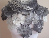 Gray white shawl - White, Light and Dark Grey Flower Floral Triangle Shawl - Gift for Her - Ready to Ship - Birthday Gift