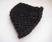 Winter Accessories - Handknitted HAT, BEANIE, BERET - Black with Small Colorful Points on It - Ready to Ship - Gift for Her