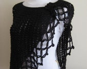 BLACK Shawl, Capelet, Stole - Ready to Ship - Gift for Her