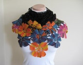 Colorful Flower Shawl - Frida Kahlo - Black Orange Blue Yellow Purple and Pink Floral - Gift for Her - Ready for Shipping