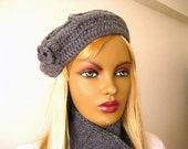 Grey Hat, Beanie - Gray Beret with Flowers on it - Valentines Day Gift for Her