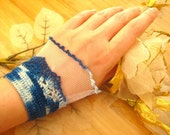 LACE FASHION - Blue Crochet, Ruche Bracelet - Blue and White Victorian CUFF - Ready for Shipping - Gift for Her