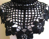 Shiny Black Shawl - Flower, Floral Bridal, Wedding Accessories - Gift for Her - Ready to Ship