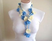 Blue and Ivory Double Bloom Crochet Belt, Necklace, Scarflette, Scarf - Gift for Her