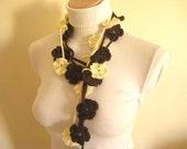 Brown Ivory Lariat Double Bloom Crochet Necklace, Scarflette, Belt - Gift for Her