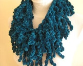Teal Gipsy Scarf, Blue, Velvet - So soft, fringed, sport and chic scarf and neckwarmer - GIFT FOR HER - Ready for Shipping