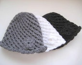 Winter Accessories - Hand Knit HAT, BEANIE, BERET - Gray Hat with Flower - Ready to Ship - Gift for Her
