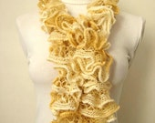 Scarf - Cream and Honey Frilly Scarflette, Neck Tissue, Rag, Neckwarmer, Foulard - Gift for Her - READY TO SHIP