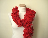Red Fashion - Red Frilly Scarflette, Neck Tissue, Rag, Neckwarmer, Foulard - Gift for Her - Ready to Ship