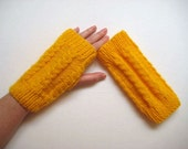 Winter Accessories - Yellow Fingerless Gloves, Wristwarmers, Winter Mittens - Gift for Her - READY TO SHIP