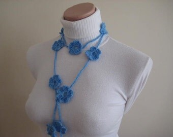 Baby Blue Bloom Flower Crochet Necklace, SCARFLETTE, SCARF, BELT - Ready for Shipping - Gift for Her