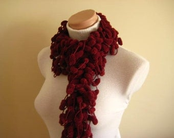Burgundy, Dark Red, Claret Red Curly Long Scarf, Neckwarmer, Cowl - Cocoon, Mulberry, Pompom Yarn - Gift for Her - Ready for Shipping