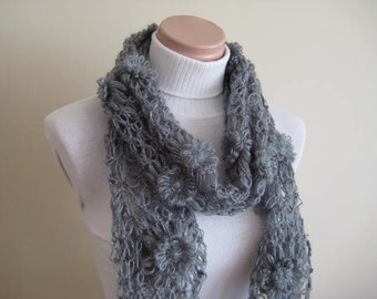 Gray scarf - Dark Gray, Grey Shiny Daisy Scarf - Sparkle twinkle Scarflette, Neck Tissue, Rag, Neckwarmer, Foulard - Gift for Her