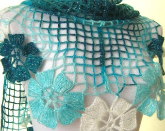 Turquoise Floral Shawl - Blue and White Shiny Flower Triangle Accessories - Gift for Her - Ready for Shipping - Crochet Shawl