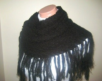 Black Shawl Warm Soft Triangle Poncho, Capelet, Neckwarmer, Cowl - GIFT for Her - Ready for Shipping