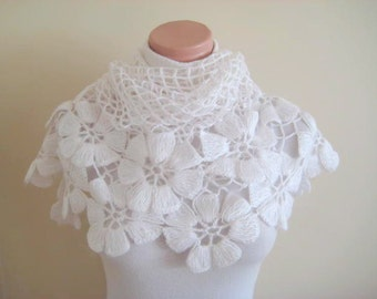 White Bridal Shawl - Flower, Floral Shiny Triangle Winter Wedding Accessories - Gift for Her - Ready to Ship