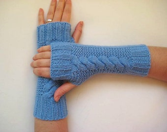 Baby Blue Gloves, Armwarmers - Fingerless, Cable Knitting - READY FOR SHIPPING - Gift for Her, for Him