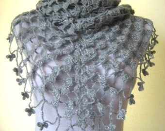 Gray 3D Shawl - EXPRESS Shipping Option - Warm Shiny Mohair Triangle - Neckwarmer, Scarf, Cowl - GIFT for HER - Ready for Shipping