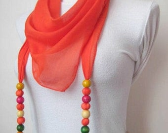 ORANGE Scarf, Foulard, Shawl - Triangle Scarflette with Beaded Fringes - Christmas Gift for Her - Ready for Shipping