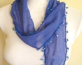BLUE Foulard, Scarf, Shawl - INDIGO Skinny Scarflette with Crocheted Lucky Eye Beaded Ends - Ready for Shipping - Gift for Her