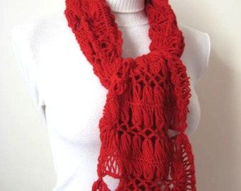 Red Fashion Scarf - Valentine's Day GIFT for HER - OOAK - Wrap, Warm, Hot Claret Red Scarf, Scarflette, Neckwarmer, Cowl - Ready to Ship