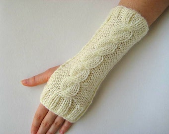 Winter Mittens - Ivory, Ecru, Cream Fingerless Gloves, Armwarmers - Hand-Knit Cable Pattern - READY TO SHIP - Gift for Her