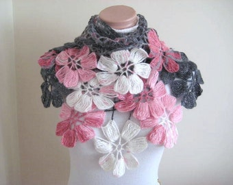 Gray Pink Shawl - Pink, White and Gray Flower Triangle Shawl - Gift for Her - Ready to Ship