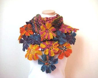 Colorful Flower Shawl - Orange Blue Yellow Purple and Pink Floral - Gift for Her - Ready to Ship