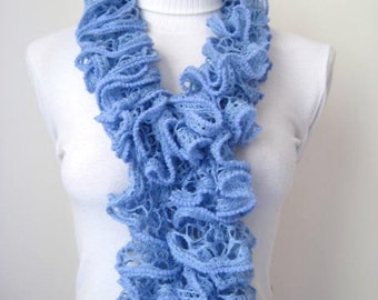 Scarf - Blue Frilly Scarflette, Neck Tissue, Rag, Neckwarmer, Foulard - Gift for Her - READY TO SHIP