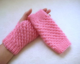 Pink Fingerless Gloves, Wristwarmers, Winter Mittens - Gift for Her - READY TO SHIP