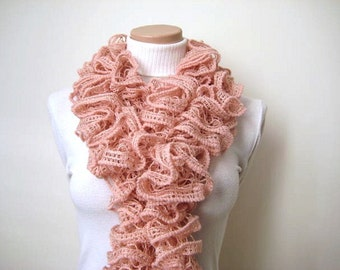 Blush Powder Pink Frilly Scarflette, Neck Tissue, Rag, Neckwarmer, Foulard - Gift for Her - Ready to Ship