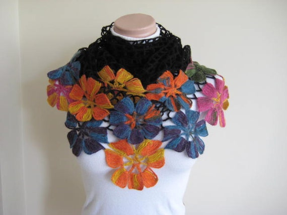 Colorful Flower Shawl - Frida Kahlo - Black Orange Blue Yellow Purple and Pink Floral - Gift for Her - Ready to Ship