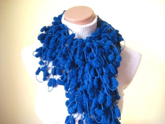 READY TO SHIP - Cobalt Blue Curly Scarf, Long Neckwarmer, Cowl, Necktie - Cocoon, Mulberry, Pompom Yarn - Gift for Her