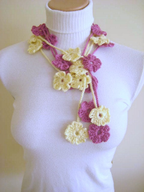 PINK IVORY Flowers DOUBLE Bloom Blossom Crochet Necklace, Scarflette, Lariat, Belt - Made to Order - Gift for Her