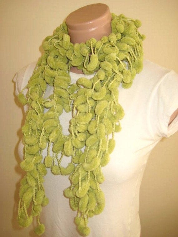 Green Long Scarf, Neckwarmer, Cowl, Necktie - Cocoon, Mulberry, Pompom Curly Yarn - READY TO SHIP - Gift for Her
