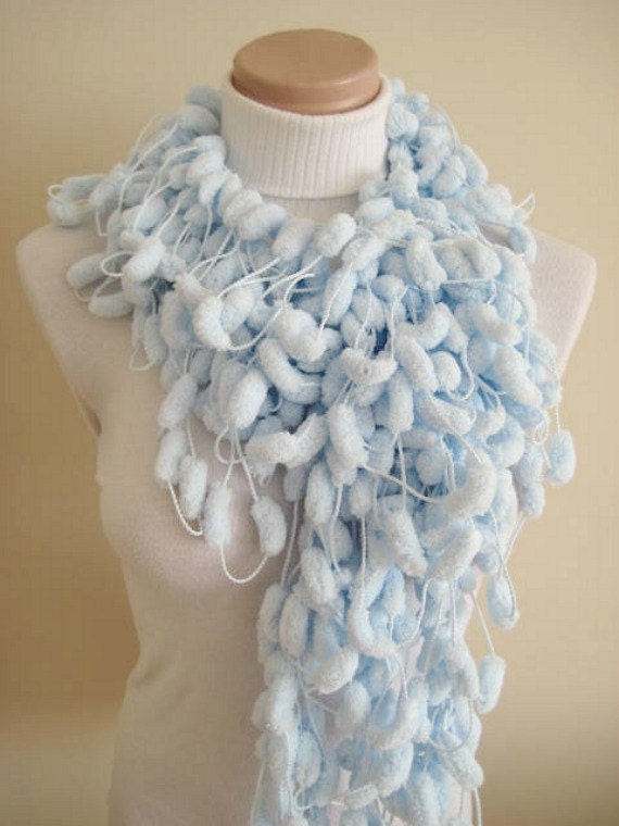 SALE-Scarf - Shiny Baby Blue Pom Pom Curly Long Scarf, Neckwarmer, Cowl, Necktie - Cocoon, Mulberry Yarn - GIFT for HER - Ready for Shipping
