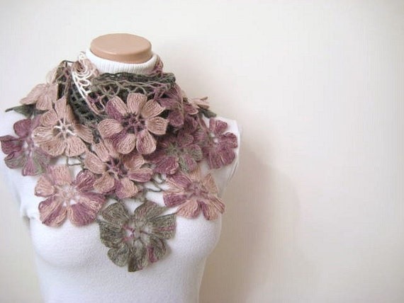 Gray Pink Shawl - Blush Pink, White, Purple and Gray Flower Triangle Shawl - Gift for Her