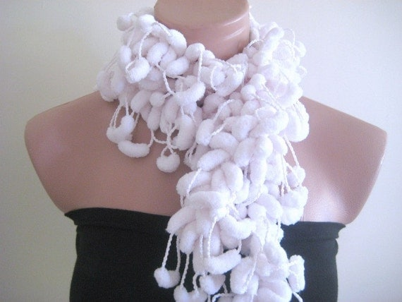 SALE - White Curly Scarf, Long Neckwarmer, Cowl, Necktie - Cocoon, Mulberry, Pompom Yarn - READY for SHIPPING - Gift for Her