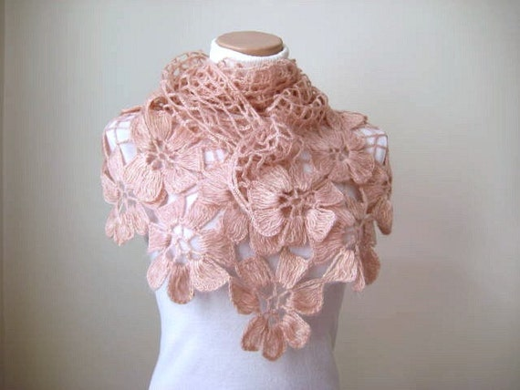 Floral Pale Pink Shawl - Shiny Blush Powder Pink Flower Triangle Cowl, Neckwarmer - Gift for Her