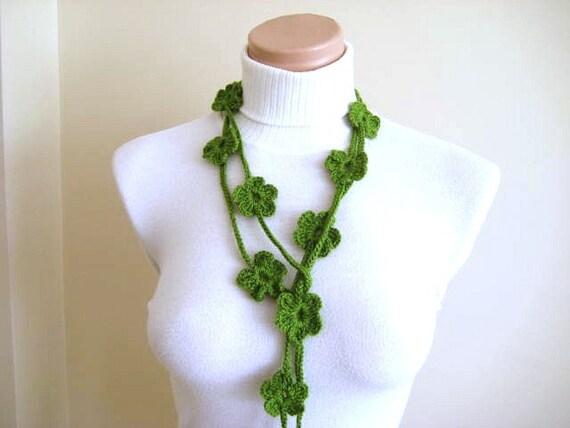 St Patricks Day Gift Green Bloom Lariat - Blossom Crochet Necklace, Scarflette, Scarf, Belt - Gift for Her