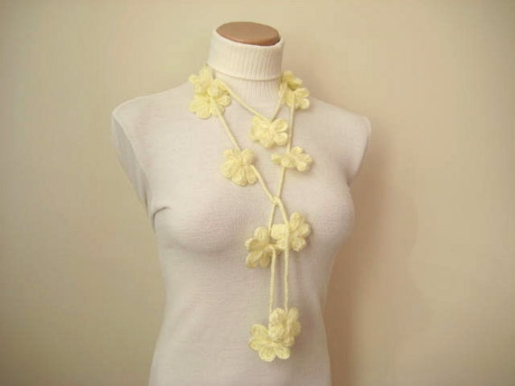 Ivory, Cream, Ecru BLOOM BLOSSOM Crochet Necklace, Scarflette, Scarf, Belt - READY for Shipping - Gift for Her