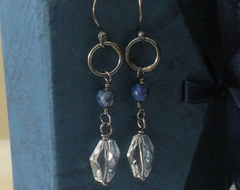 Sodalite and crystal earrings