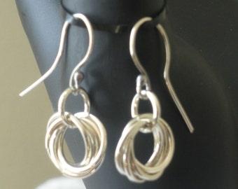 Mobius Flower Earrings in Sterling Silver